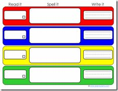 Printable - Read it, spell it, write It activity. This will work great with our letter tiles.