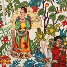 Frida Kahlo de Rivera, born Magdalena Carmen Frieda Kahlo y Calderón; July 1907 – July was a Mexican painter, born in Coyoacán, who is best known for her self-portraits. Fabric is inches wide. - Frida holding the birds is 12 inches tall. If you order Diego Rivera, Frida E Diego, Frida Art, Mexican Fabric, Mexican Art, Mexican Style, Textures Patterns, Print Patterns, Frida Kahlo Fabric