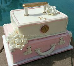 Luggage cake for a bridal shower. Theme: Traveling from Miss to Mrs