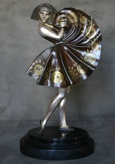 "A rare Art Deco French bronze figure by Marcel-Andre Bouraine, circa 1925, ""cubist dancer""."