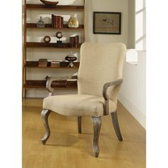Gooseneck Beige Linen Chair | Overstock.com - at $199 this could be a great chair for head chairs in the formal dining.  The color is OK but could also reupholster at some point.  The legs and arms are nice but could be glazed in a charcoal to darken just a bit.
