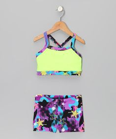 Take a look at this Yellow & Purple Graffiti Crop Top & Shorts - Girls by Elliewear on #zulily today!
