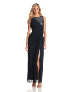 Adrianna Papell Women's Veiled Sequin Tulle Gown | Traveling Of Life