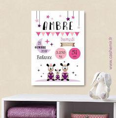 Affiche naissance bébé, cadeau de naissance fille personnalisé, tableau chambre bébé enfant, animaux - Fichier Imprimable - n°16 : Décoration pour enfants par cashemir