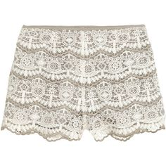 Blondeshorts 249,- ❤ liked on Polyvore featuring shorts, lace shorts, short shorts, lace short shorts and lacy shorts