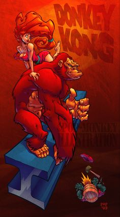 Donkey Kong wins by pop-monkey. Character Art, Character Design, Donkey Kong Country, Super Mario Art, Monkey Art, Mario And Luigi, Mario Bros, Cartoon Games, Video Game Characters