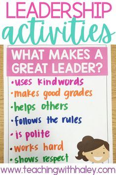 How to Teach Leadership in the Classroom. By Haley O'Connor. In this blog post, I share some ideas for teaching our students how to be leaders! Each day we hope that we teach our students how to be kind, how to have courage, and how to be a great friend. Teaching them to be LEADERS means that they show kindness and courage even when no one else will! A great social-emotional learning lesson your kindergarten and first-grade students will love. Learn more