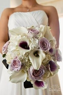 I'm not a bride to be...but I LOVE the Purple and cream calla lily bouquet with purple roses and cream hydrangeas