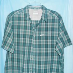 COLUMBIA Green Plaid Size L Large OMNI SHADE Sun Protection Button Front S/S #Columbia #ButtonFront