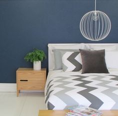This New Zealand designed and made duvet by Thread Design is perfect for every home. Mix with bold block colours prints to add your own flair to this modern chevron duvet. Gray Interior, Be Perfect, Color Blocking, Duvet, Bed Pillows, Pillow Cases, Colours, Monochrome, Modern