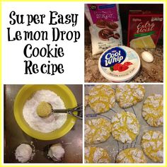 My aunt made lemon cookies for Christmas one year. I loved them and got the recipe right away. While Iprobably won't add lemon cookies to my Christmas cookie and candy recipes, I think lemon cookies are perfect for summer get-togethers! And they are super easy to make… Lemon Drop Cookie Ingredients Lemon cake mix (any brand) Cool Whip (or any brand whipped topping) 1 egg Powdered sugar Mix cake mix, thawed whipped topping and egg (mixture will be sticky). Drop balls of mixture into bowl of…