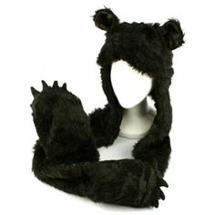 Rakuten.com - Winter Faux Fake Fuzzy Animal Fur Scarf Trapper Hat with Paws Gloves Mittens
