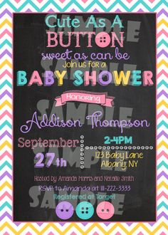 Printable CUTE AS A Button Baby Shower by ShinySparklyParties  baby girl baby shower invitation button baby shower invite