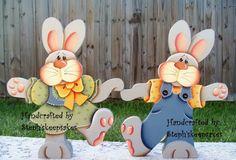 Handpainted Dancing BunniesEaster BunnyHoliday por stephskeepsakes, $33.95