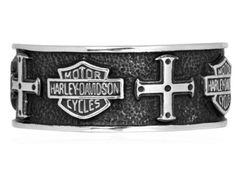 Harley-Davidson® MOD® Men's .925 Sterling Silver Cross Band Ring. HDR0319  http://bikeraa.com/harley-davidson-mod-mens-925-sterling-silver-cross-band-ring-hdr0319/