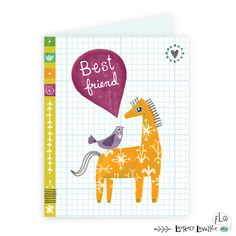 Best friends card - horse + bird: children illustration by Laurence Lavallée aka Flo