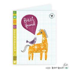 Best friends card - horse + bird: children illustration by Laurence Lavallée aka Flo Laurence, Pattern Art, Illustration, Best Friends, My Arts, Artist, Beat Friends, Bestfriends, Artists