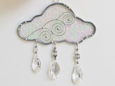 Iridescent Stained Glass Cloud Suncatcher with by JasGlassArt