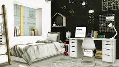 Scandinavian-Style Boys Room • IKEA Mandal Single Bed Frame • Base Game Mattress Edited ( Shorter Blanket ) • Rising Sun Pillow Recolors • Jonesi Blanket ( Texture by @paisleyavenueredux ) • IKEA Alex...