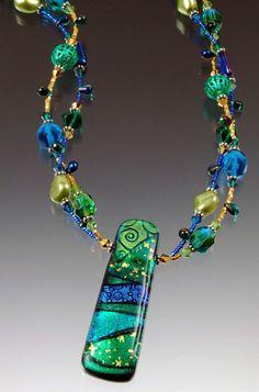 Fused Glass Dichroic & Beads Bracelet
