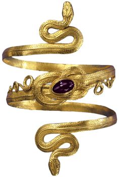 Gold bracelet with garnet, Greek-Hellenistic period, 3rd-to-2nd century B.C. (Source)