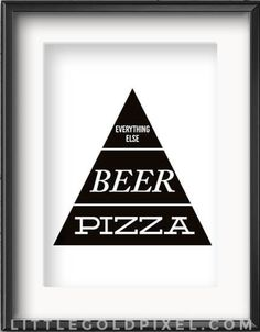 Apartminty Fresh Picks | Apartment Decor | Pizza, Beer, Everything Else Food Pyramid Print