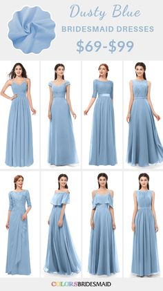 Dusty blue bridesmaid dresses on sale $69-99, in 600+ custom-made styles and all sizes. 150+colors, made to order, fast arrived, color sample available. #colsbm #bridesmaids #bridesmaiddresses #dustybluewedding #weddingideas #dustybluedress b1231