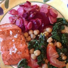 Voila! Dinner is served. (salmon with lime butter, roasted radishes and beets & Swiss chard w/ chick peas and tomatoes)
