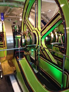 The inner working of the wheels that lifted Tower Bridge to let ships pass through. I love the vintage colours.