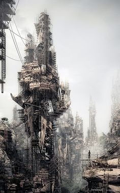 'Favelização' imagines Rio de Janeiro under a future government elimination strategy which barricades the favelised regions from expansion and destroys all electricity networks that enter the shanty towns. Slum dwellers are left with little choice but to Futuristic City, Futuristic Architecture, Cyberpunk City, Conceptual Architecture, Sci Fi Fantasy, Fantasy World, Architecture Drawings, Slums, Environment Design