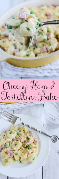 Cheesy Ham and Tortellini Bake - a delicious 30 minute meal the whole family will love! (Whole Bake Ham) Recipes Using Pasta, Yummy Pasta Recipes, Pork Recipes, Great Recipes, Cooking Recipes, Favorite Recipes, Dinner Recipes, Cooking Ideas, Delicious Recipes