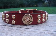 Leather Dog Collar Hunting Dog Dog ID Tag Included by TagMePetTags, $45.00