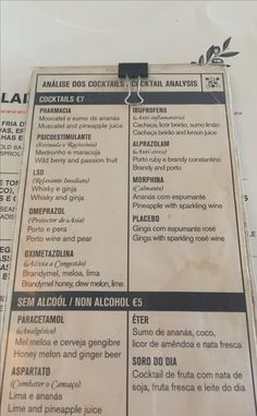 Cocktail menu at restaurant Pharmacia in Lisbon