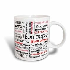 3dRose Red Bon Appetit Kitchen Typography Text Art - Words for Enjoy Your Meal in many languages, Ceramic Mug, 11-ounce