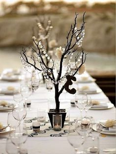 White & Black Party: Dark Branches + Crystals.... via Pink Pig Cottage Antiques