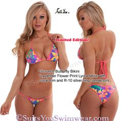 Butterfly Bikini, Limited Edition Lavender Flower, Model, Kimberely Jade. Suis You Swimwear