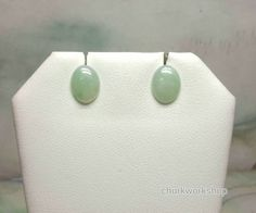 Natural light green color jade earrings, gold jade earrings, ear stud, jade stud, silver jade ear stud, silver jade earrings Jade Earrings, Sterling Silver Earrings, Ear Studs, Oval Shape, Green Colors, Natural Light, Meet, Shapes, Photos