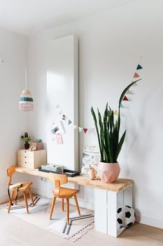 my scandinavian home: children's room in a white Dutch home with salmon pink accents