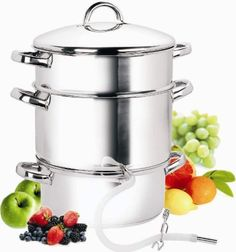 Seriously desire this: Cook N Home 9-1/2-Quart Stainless-Steel Juicer Steamer by Neway International Housewares, www.amazon.com/...