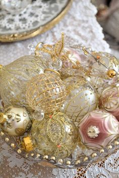 pretty ornaments in a crystal bowl