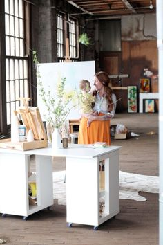 Katie Stratton in her amazing work space