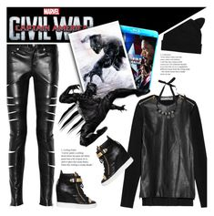 """""""Captain America: Civil War ~ Black Panther ~"""" by aj93 ❤ liked on Polyvore featuring Yves Saint Laurent, Proenza Schouler, Marvel Comics, Marni, Giuseppe Zanotti, contestentry and CaptainAmericaCivilWar"""
