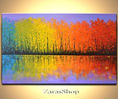 Colorful trees painting original contemporary art by ZarasShop, $325.00