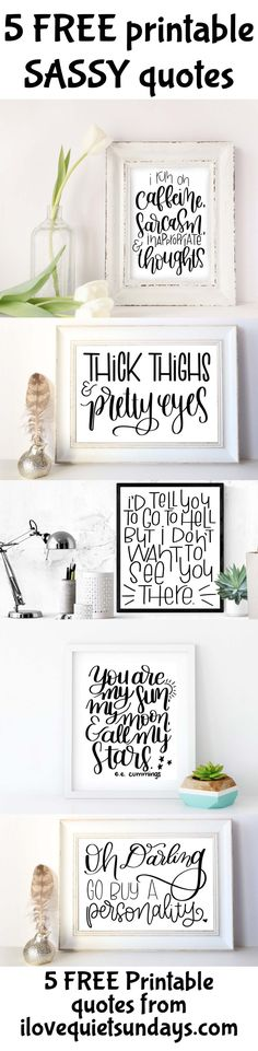 Get your sass on with these 5 downloadable quotes.  Ready to print in 8x10 from I love Quiet Sundays #printables