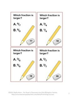 Comparing Fractions: Here is a set of 50 common core math task cards (greater than less than) focusing on the common core skill of comparing fractions. A comparing fractions chart is also provided. The student answer keys are grouped into five fractions problems per key to allow for frequent checks and immediate feedback.