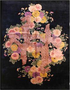Carpet vintage chinese samarkand deco deco blue botanical geometric bb2894 11x9