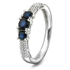Ring i gull med diamant WSI og safir Gave, Dream Ring, Something Blue, All Things, Sapphire, Wedding Inspiration, Engagement Rings, Jewellery, Funny