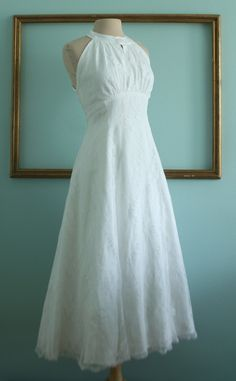 retro wedding dress handmade 1950's style empire waist - SAMPLE SALE. $299.00, via Etsy.