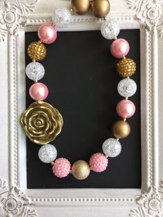 Pink and gold bubblegum necklace by LilchicboutiqueLIC on Etsy