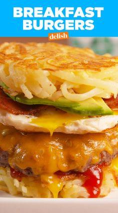 Breakfast Burgers are #brunchgoals #burgergoals #weekendgoals. Get the recipe from Delish.com.